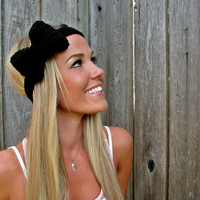 Midnight Black Bow Headband with Natural Vegan Coconut Shell Buttons - Adjustable