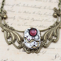 Steampunk Necklace OOAK Burgundy Choker Steam Punk Jewelry  - Antique Brass- Clockwork Vintage Watch Piece -  Inspired by Elizabeth