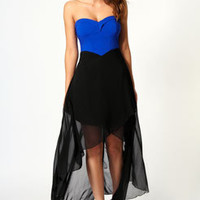 Bella Contrast Top Bandeau Mixi Dress