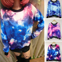Womens Warm Flannel Galaxy Space Starry Digital Print Jumper Top T Shirt Sweats