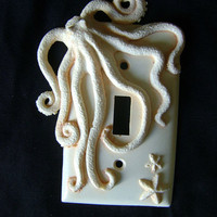 Octopus Light Switch Cover. Animal wall art sculpture Valentine Gift installation.