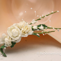 Ivory flower wedding comb with pearls, bridal hair accessory