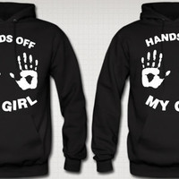 Hands Off My Girl -Hands Off  My Guy Hoodies Love Couple Hoodie Valentine's Day Hoodie