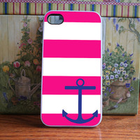 Anchor with pink stripes  iPhone 4S and iPhone 4 by DanazDesigns