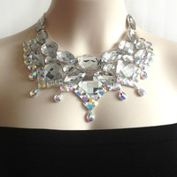 bib necklace - bib crystal clear and crystal AB rhinestone tiara style unique necklace, bridesmaids, bridal, prom necklace NEW