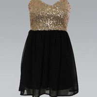 Strapless Gold Sequin Top Dress with Black Chiffon Skirt