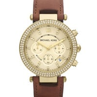 Michael Kors Mid-Size Parker Chronograph Glitz Watch, Golden - Michael Kors