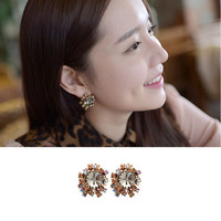 Crystal Cluster Stud Earrings Bold Flower Swarovski Elements 4x_E007_Lblack