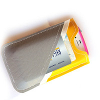 Gray and Yellow Leather Iphone sleeve Smartphone by honeycrush