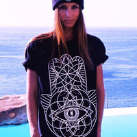 iamVibes Clothing — BLACK GEOMETRIC HAMSA TEE