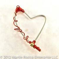 Guitar String heart pendant with red wire wrap GSP99