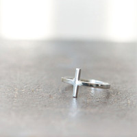 Sideways Cross Ring in sterling silver by laonato on Etsy