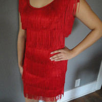 Red Hot Flapper style Fringed Dress 20&#x27;s by LittleMissVintage3