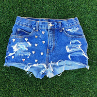 Vintage High Waisted Shorts with Heart Studs by MissDomineek