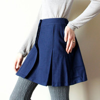 60s Mod Pleated Mini Skirt navy wool schoolgirl by factoryhandbook