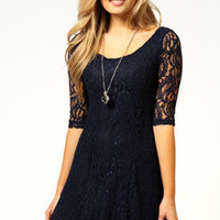 Linda 3/4 Sleeve lace Skater Dress