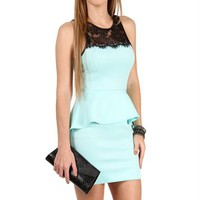 Mint Lace Peplum Dress