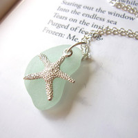 Seafoam Blue seaglass topped with starfish - Perfect nautical Jewelry for girlfriend, sister, mom or a beach lover FREE SHIPPING