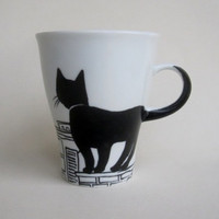 Black Cat on rooftop -  Handpainted Porcelain  Mug