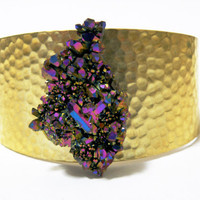Titanium Aura Quartz and Hammered Brass Cuff by nubambu on Etsy