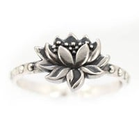 Detailed Lotus Blossom Flower Ring in Sterling Silver, Available in Sizes 6, 7, 8 and 9#7428