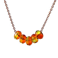Bead Necklace, Gold Chain, Chunky Beads, Short Simple Necklace, Amber, Harvest Gold, Green, Brown