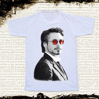 Size XL -- RDJ Robert Downey Jr T Shirt Iron Man T Shirts Red Glasses Shirts Unisex T Shirts Women Shirts White T Shirts Movie Tee Shirts