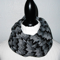 Chevron Infinity Scarf Soft Stretch Knit Fabric Black and White Zig Zag Infiniti Gift Under 25