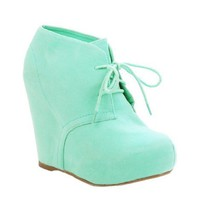Lace up Platform Wedge Bootie Hidden Heel