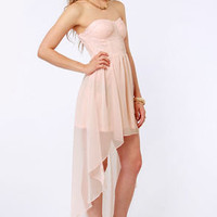 Glisten to This Strapless Peach Sequin Dress