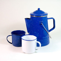 Graniteware Coffee Pot & Two Mugs by OldGreenCanoe on Etsy