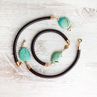 For your choice Turquoise on  Dark Brown Leather Cord Bracelet by pardes israel