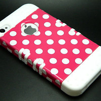 Iphone 4 4S Rocker White Soft Skin Case Polka Dots Pink Hybrid Hard Impact Cover