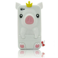 White 3D Pig Silicone Case Cover Skin for iPhone 4S 4G + Free Stylus