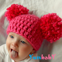 Baby Girl Pom Pom Hat Toddler Hat Christmas Handmade Blue Purple White Black Green Red Crochet Baby Girl Hats Newborn Photography - pink
