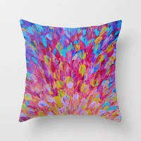 SPLASH, Revisited - Bold Beautiful Feminine Romance Ocean Beach Waves Magenta Plum Turquoise Crimson Throw Pillow by EbiEmporium | Society6