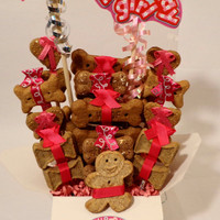 Dog biscuit treat basket, unique gift, hot pink, custom, birthday