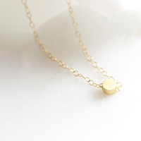Tiny gold dot necklace - 14k gold filled chain