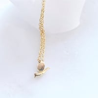 Tiny gold bird necklace - little bird charm on gold chain