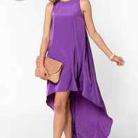 LULUS Exclusive Float On Purple High-Low Dress