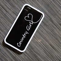Country Girl or Black and White Monogrammed Custom Insert with Bumper Case for iPhone 4 or 4s - unique, your name, initial, hearts