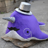 Narwhal Plush  Dark Purple w/ Mustache Monocle and by OstrichFarm
