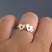 Brass Heart Sterling Initial Rings, Custom Stack Rings With Brass Hearts, Personalized