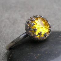 Yellow Topaz Ring- Sterling Silver, Filigree Bezel, US size 6