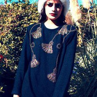 Black Wool / Silk Vintage Jumper with Sequin Tassle Detail | Rag & Bow | ASOS Marketplace