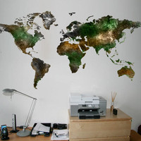 Wall World Map - World Map satellite decal for housewares