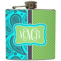 Liquid Courage Flasks: &quot;Paisley 2 Tone Monogram&quot; - Personalized Initial Monogram Flask