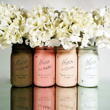 Valentine's Day Blush and Mocha Ombre SPRING Wedding Decor - Painted and Distressed Mason Jars - Centerpiece - Vase / Home Decor