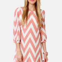 Pack Your Zigzags Blush Pink Chevron Print Dress