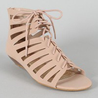 Bamboo Dalinda-08 Lace Up Cut Out Open Toe Sandal